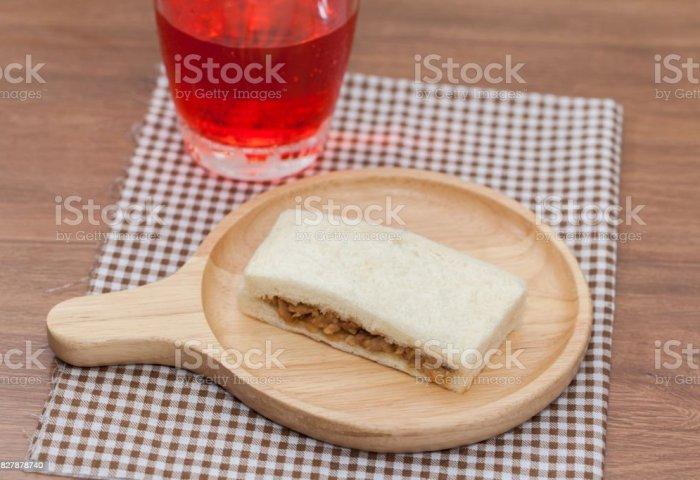 Tuna Sandwich With Apple Pomegranate Juice Stock Photo More