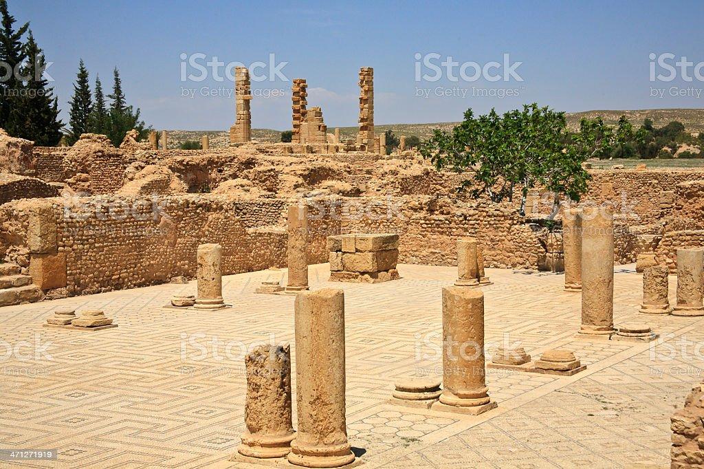 Tunisia Site Of A Roman Residence At Sbeitla Stock Photo