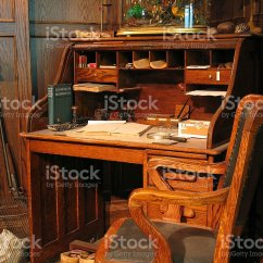Old Office Chair And Table Ergonomic Drafting Chairs A Turn Of The Century Stock Photo More Image