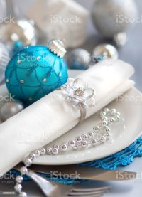 Turquoise Blue And Silver Christmas Table Setting Stock ...