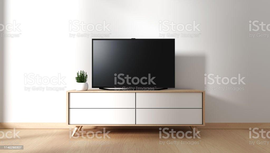 https www istockphoto com fr photo meuble tv dans salle vide moderne japonais style zen designs minimaux rendu 3d gm1140293307 305084165