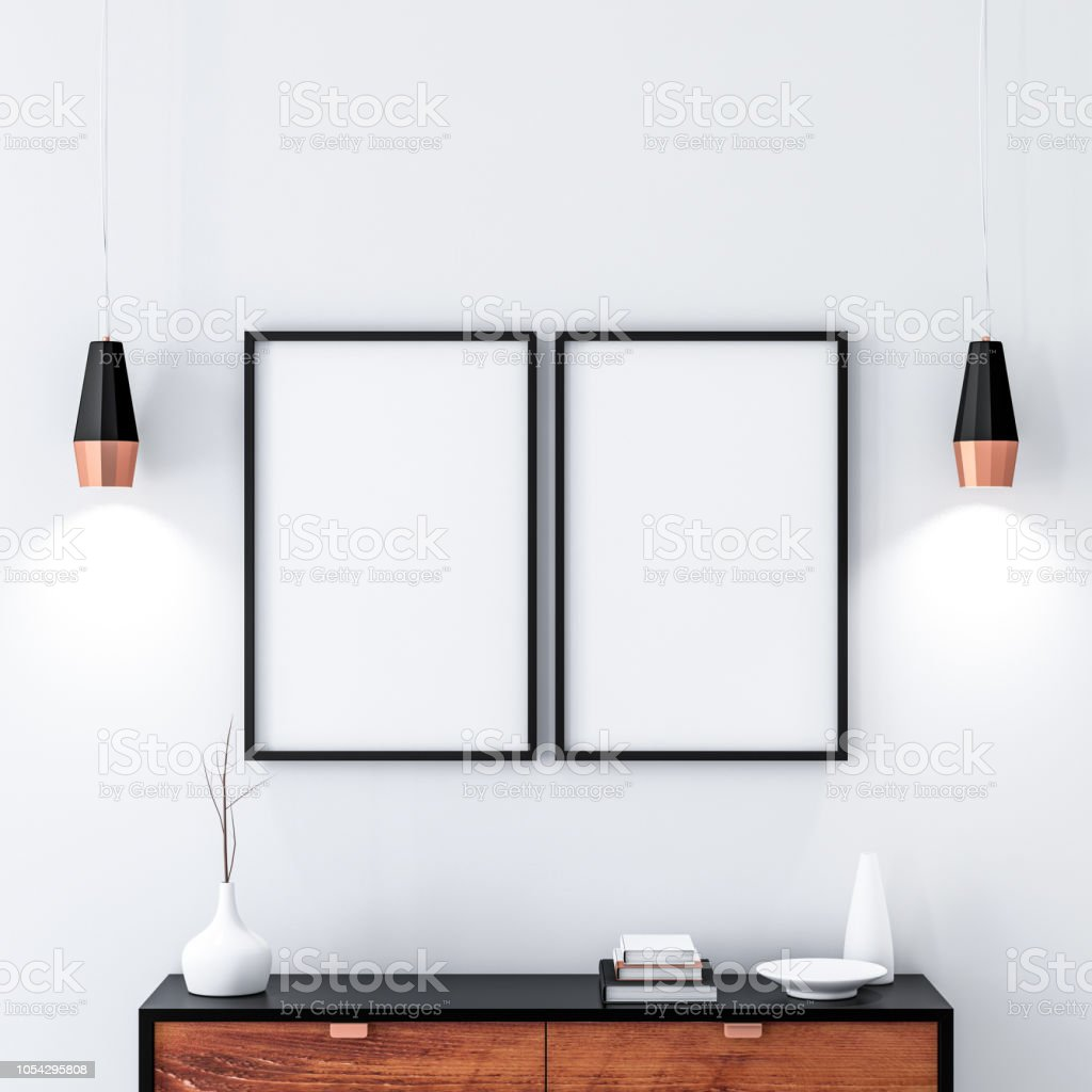 two black poster frames hanging on the wall in modern interior stock photo download image now istock