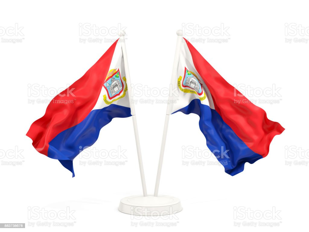 two waving flags of