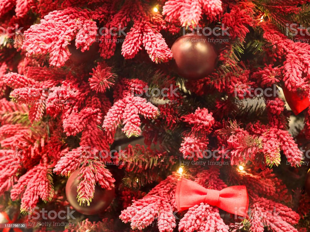Unusual Artificial Christmas Decorations Red And Pink Spruce Branches Cute New Year Decor Fir Tree Stock Photo Download Image Now Istock