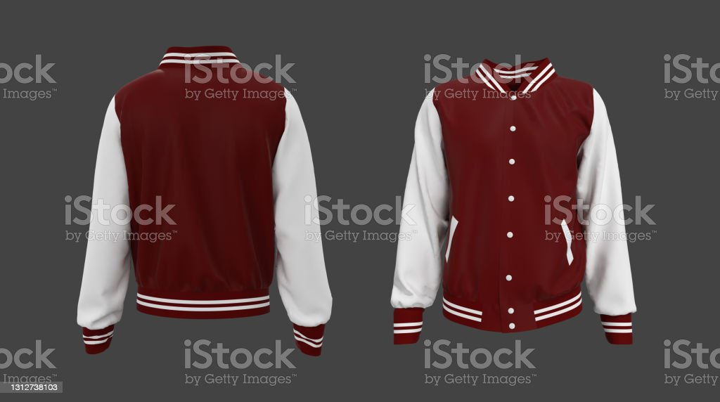 Present your design on this mockup of a bomber jacket. Varsity Jacket Mockup In Front Side And Back Views Stock Photos