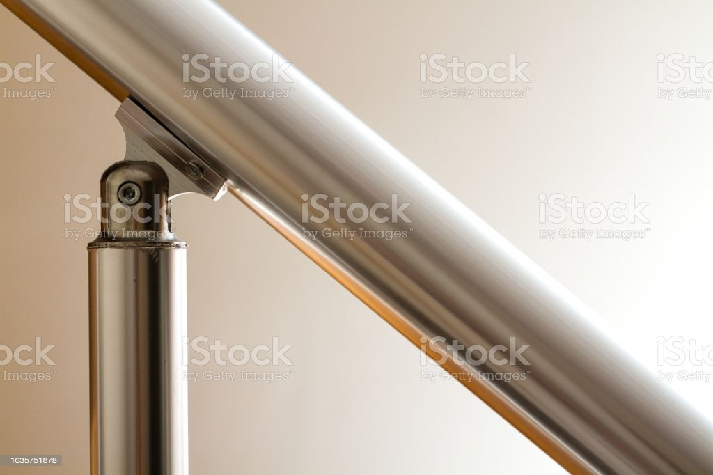 View Of Aluminium Stair Railing And Joint Element Stock Photo   Aluminium Railing For Stairs   Hand   House   Indoor   Staircase   3 Foot