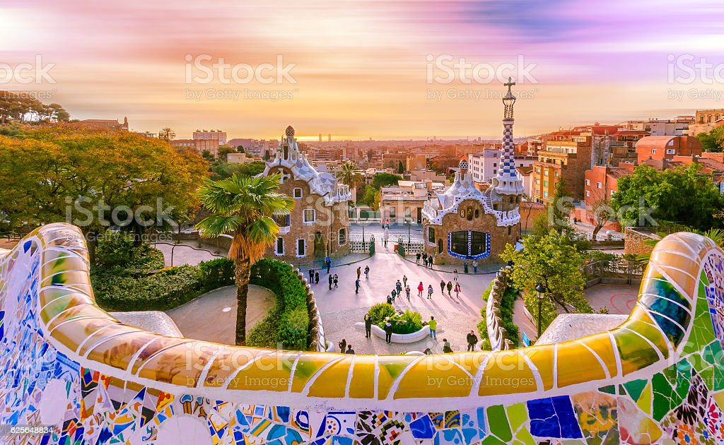 View Of The City From Park Guell In Barcelona Spain Stock