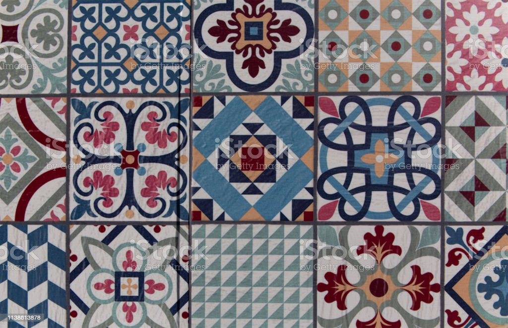 wall ceramic tiles pattern floral mosaic floral patchwork tile design colorful mediterranean square tiles mosaic ornaments tile mosaic background stock photo download image now istock