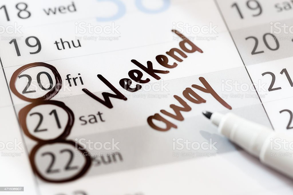 Weekend Vacation Away Marked On Nonspecific Calendar Stock Photo Download Image Now Istock