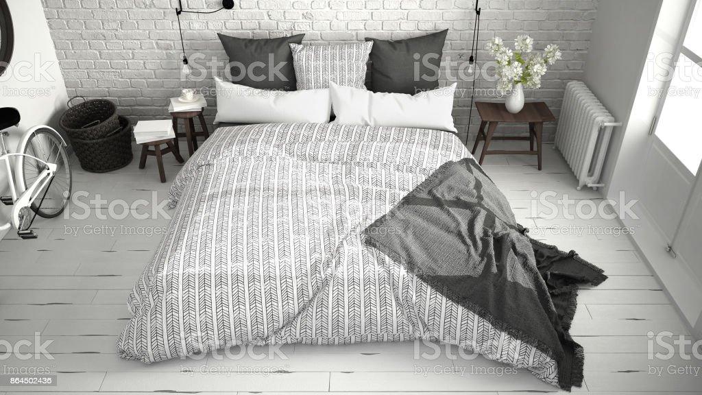 https www istockphoto com fr photo blanc et gris moderne chambre c3 a0 coucher avec lit double confortable mur de brique gm864502436 143397035