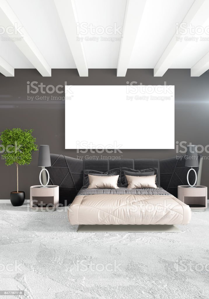 minimal sofa design small scale beds white bedroom style interior with wood wall and grey 3d rendering