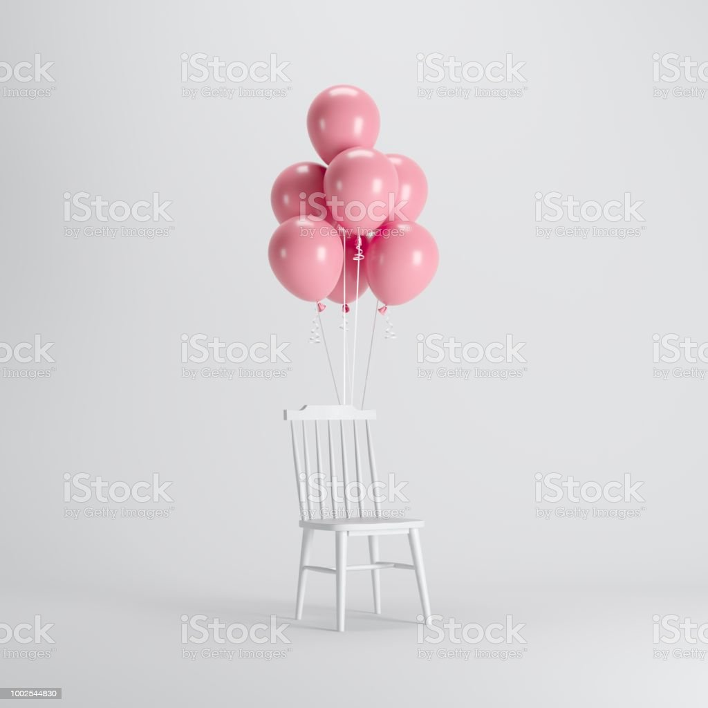 chair with balloons rustic leather chairs dining white pink floating on background minimal party concept idea stock image