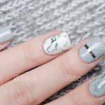 White Grey Marble Manicure With Silver Stripe On Grey Background Stock Photo Download Image Now Istock