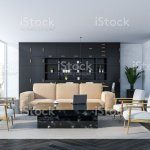White Living Room Interior Black Marble Table Stock Photo Download Image Now Istock