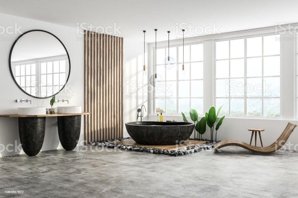 photo libre de droit de coin de salle de bain loft blanc fauteuil banque d images et plus d images libres de droit de a la mode istock