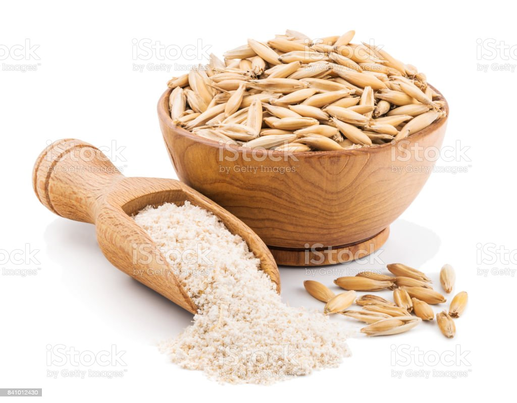 hight resolution of whole grain oat flour isolated on white royalty free stock photo