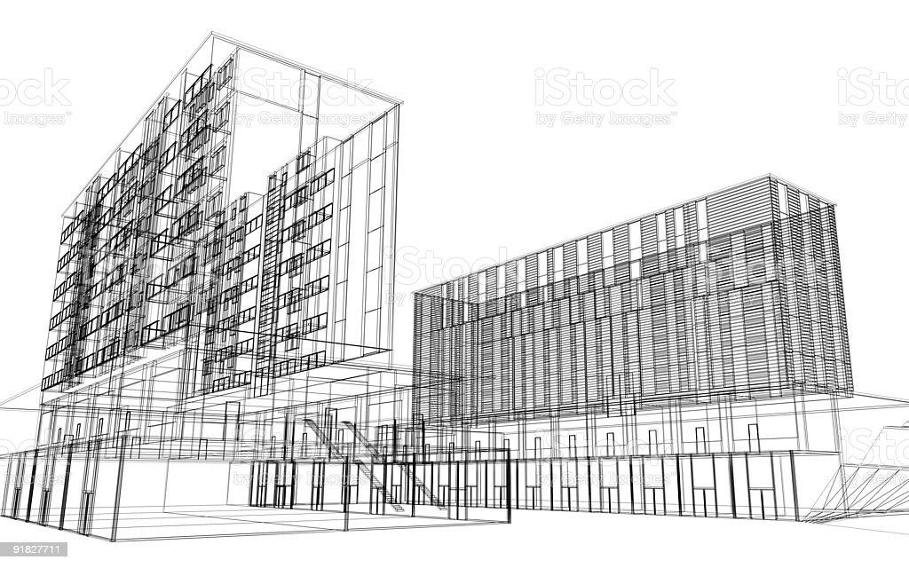 Wireframe Architecture Stock Photo & More Pictures of