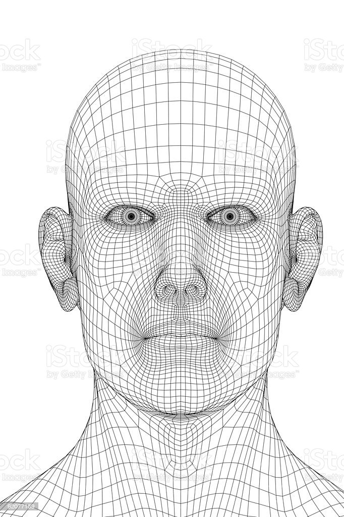 A Wireframe Computer Graphic Of A Human Face Stock Photo