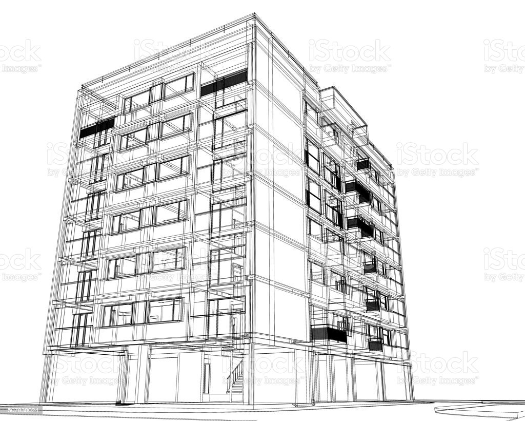 Wireframe Of Modern Building Stock Photo & More Pictures