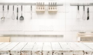 kitchen background table blur royalty wood