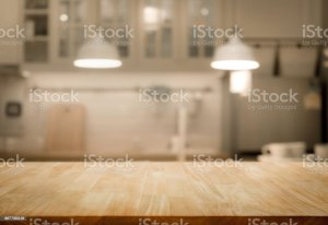 kitchen table background wood blur wall royalty living counter cooking istockphoto