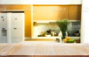 blur kitchen table interior wood background