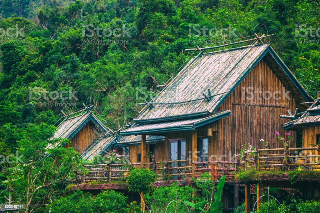 A Wooden Bamboo House In A Rainforest Sanya Li And Miao