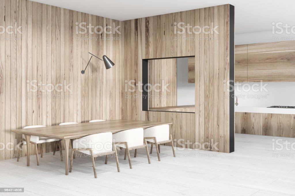 https www istockphoto com fr photo coin salle c3 a0 manger en bois longue table gm984314638 267120776
