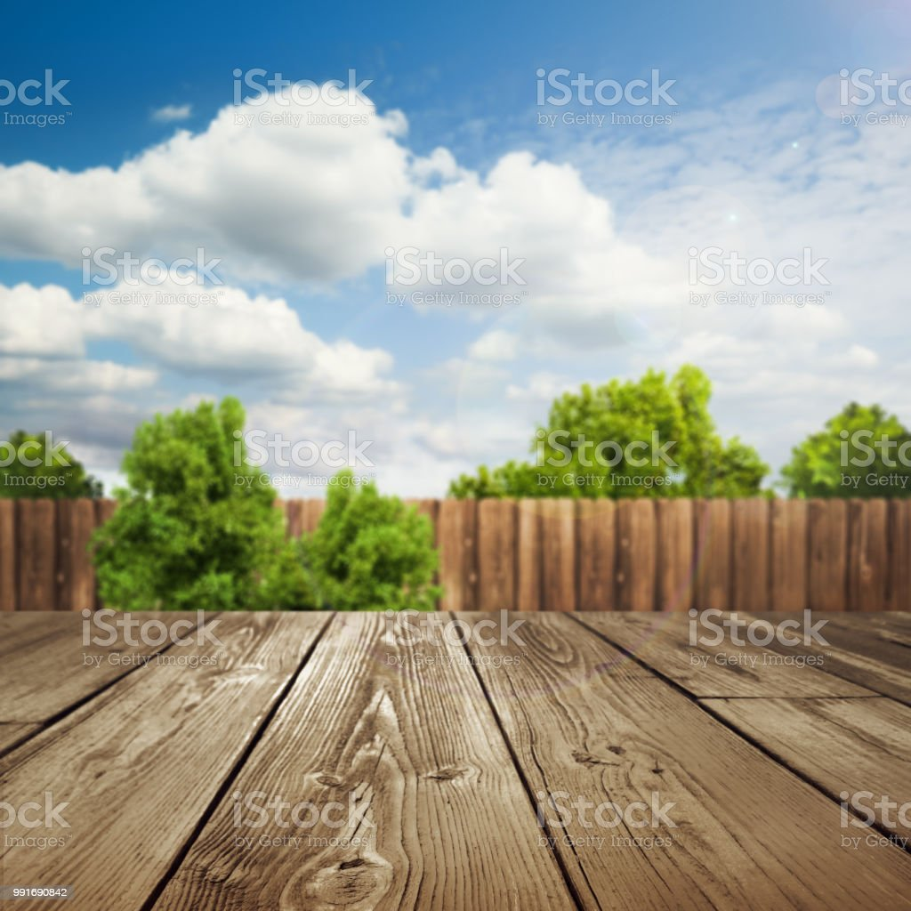 Wooden Table Top With Blurred Outdoor Backyard Background Stock Photo Download Image Now Istock