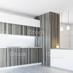 White Kitchen Countertops Pendant Wooden Side Stock Photo More Pictures Of Royalty Free