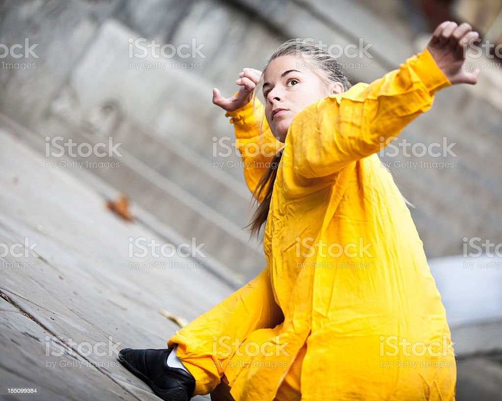 Young Woman Doing Tai Chi Stock Photo - Download Image Now ...