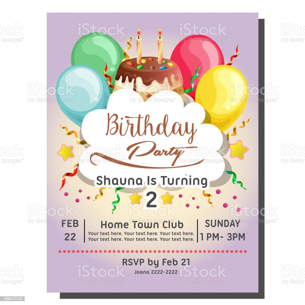 2nd birthday party invitation card with balloon and topping tart stock illustration download image now istock