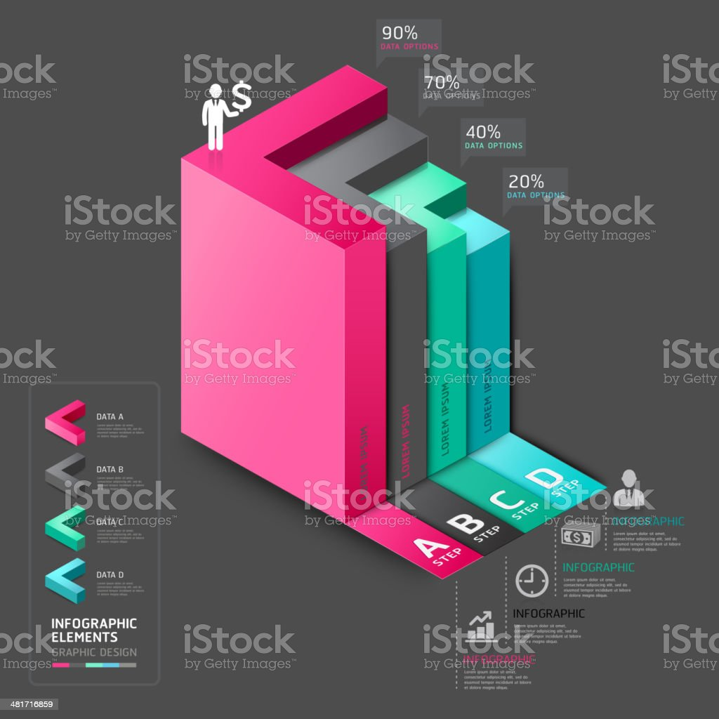 hight resolution of 3d arrow staircase diagram business step options royalty free 3d arrow staircase diagram business