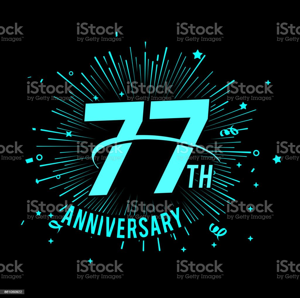 hight resolution of 77th anniversary with firework background glow in the dark design concept royalty free 77th