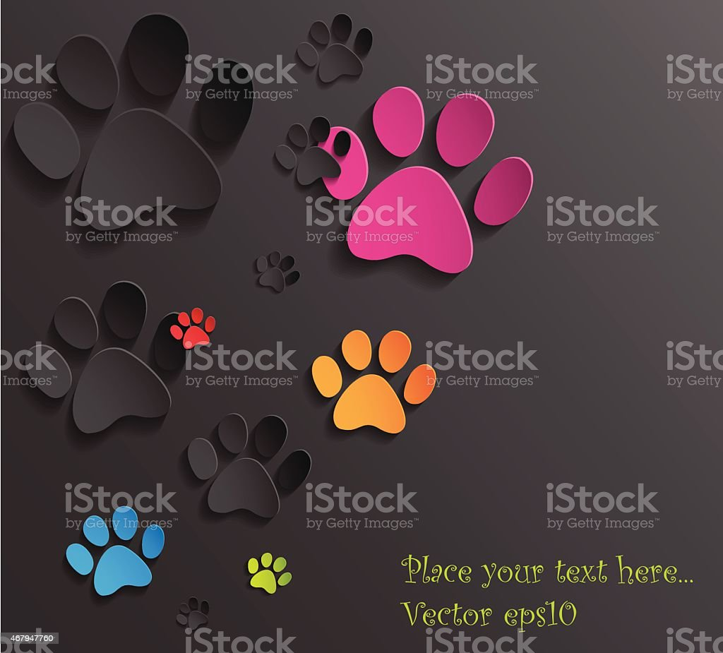 hight resolution of abstract 3d cat paws background illustration