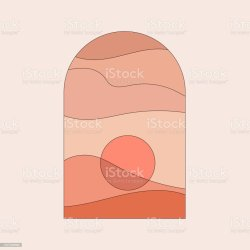 Abstract Contemporary Aesthetic Background With Landscape Desert Mountains Sun Earth Tones Burnt Orange Terracotta Colors Boho
