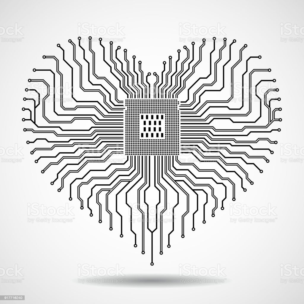 Abstract electronic circuit board with cpu in shape of heart stock
