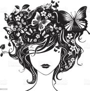 abstract girl with butterflies