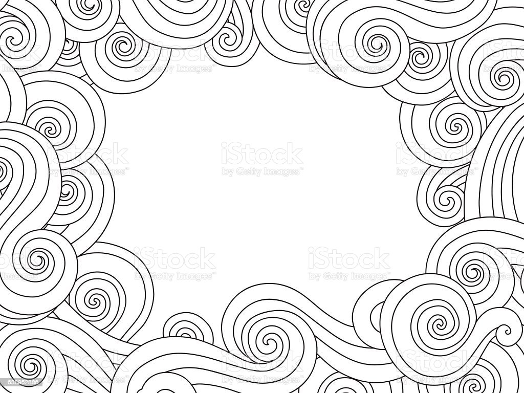 Abstract Hand Drawn Frame Border With Outline Sea Wave