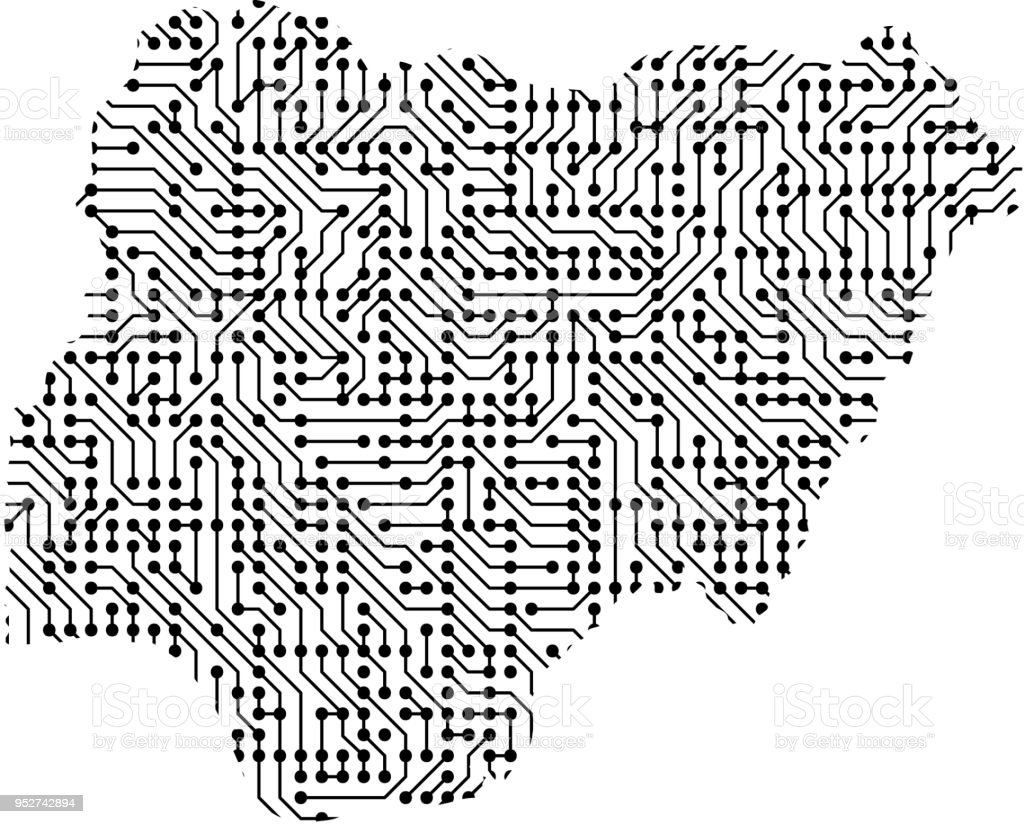 Abstract Schematic Map Of Nigeria From The Black Printed