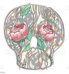 abstract skull with peony flowers floral skull stock vector art diagram of inside of throat abstract [ 991 x 1024 Pixel ]