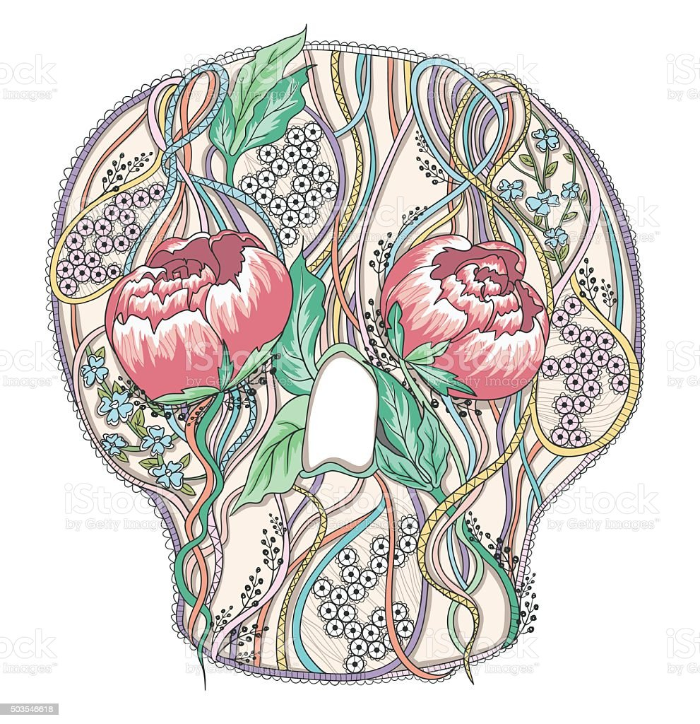 hight resolution of abstract skull with peony flowers floral skull stock vector art diagram of inside of throat abstract