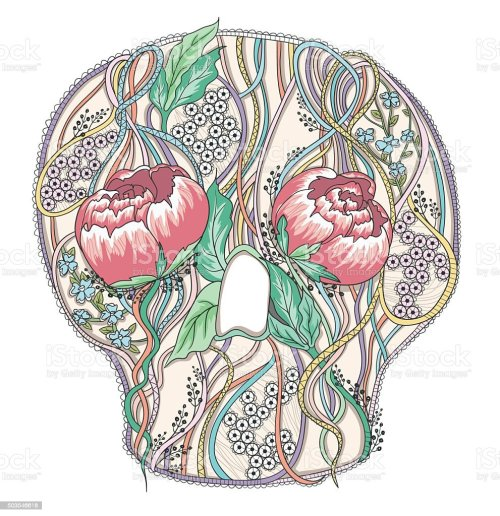 small resolution of abstract skull with peony flowers floral skull stock vector art diagram of inside of throat abstract