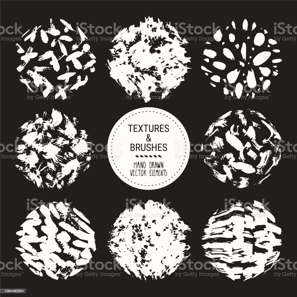 hight resolution of abstract textures grunge brush strokes hand drawn design template collection abstract vector clipart set isolated on black background illustration