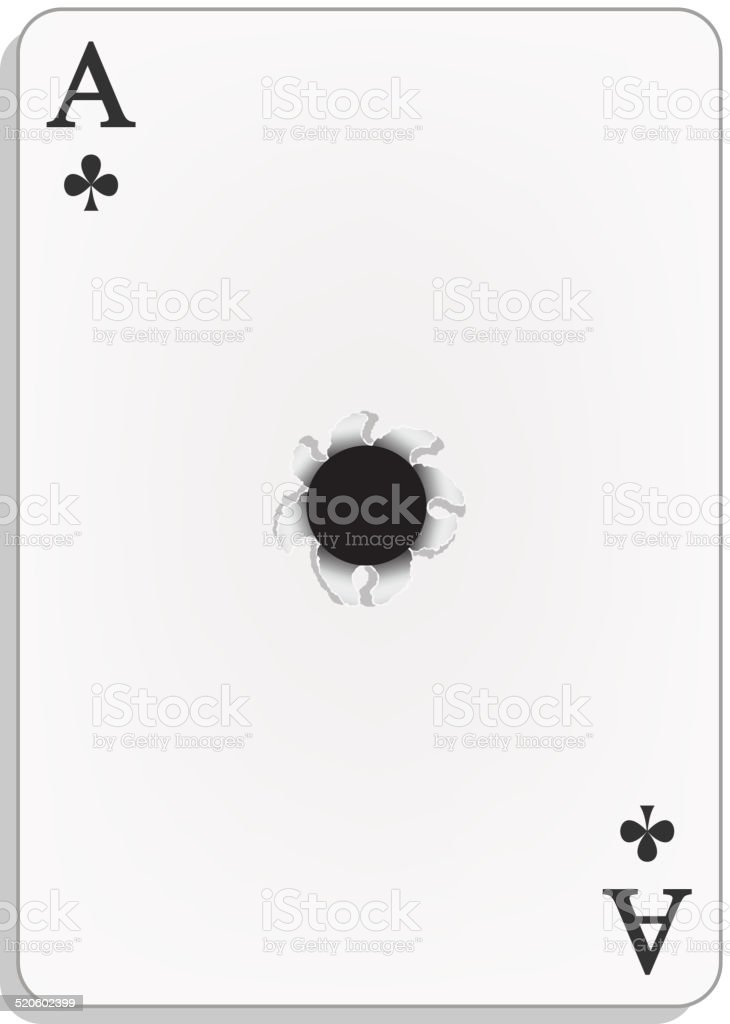 Ace Of Clubs With Bullet Hole Stock Illustration