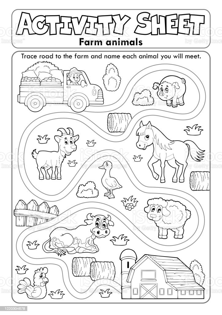 Activity Sheet Farm Animals 2 Stock Illustration