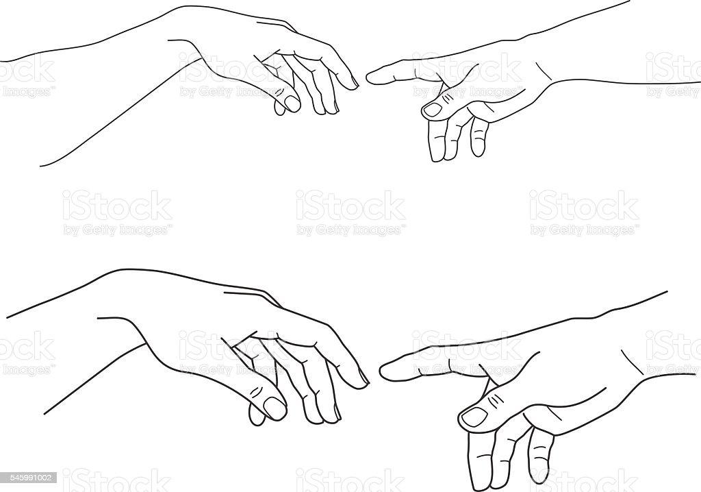Adam And God Hands Touch Hope Help Vector Illustration