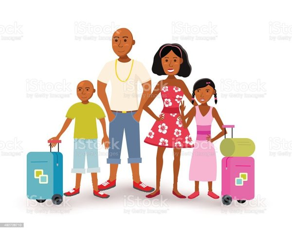 African American Family Summer Vacation Travel Stock