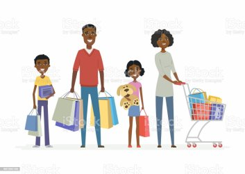 African Family Goes Shopping Cartoon People Characters Isolated Illustration Stock Illustration Download Image Now iStock
