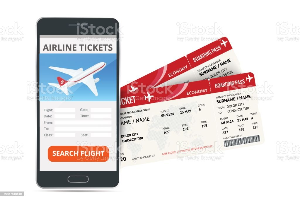 Airline Tickets Booking Online App Phone And Two Boarding Passes Concept Of Travel Journey Or Business Isolated On White Vector Illustration Stock ...